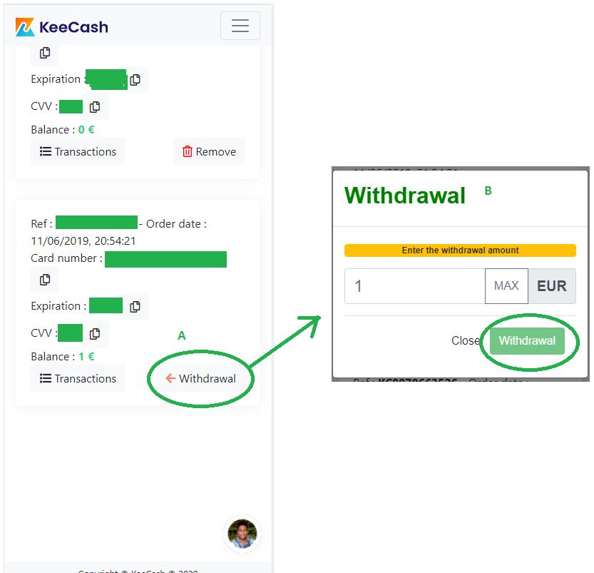 Single card withdraw