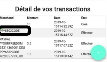 Code PayPal pour confirmation de la liaison entre votre Keecard et Paypal