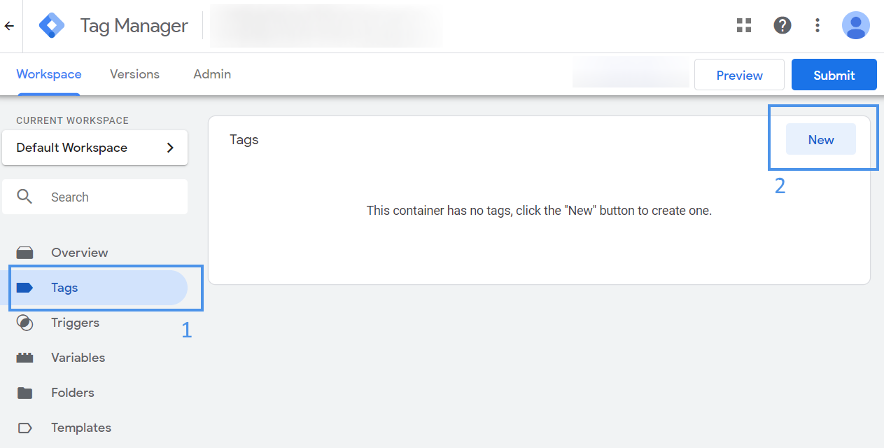 create a new tag in your worspace