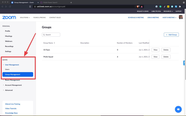 Zoom Group Managment Settings