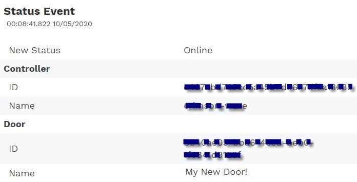 Sample door status event