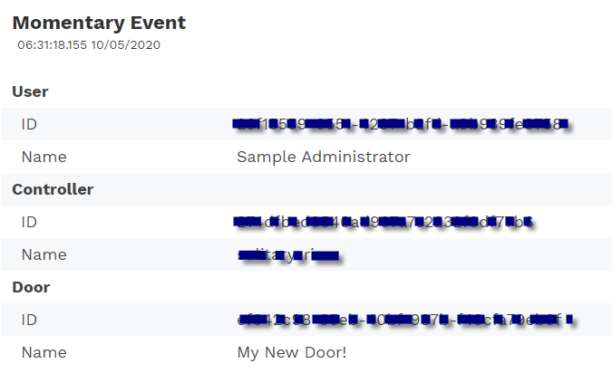 Sample momentary access event