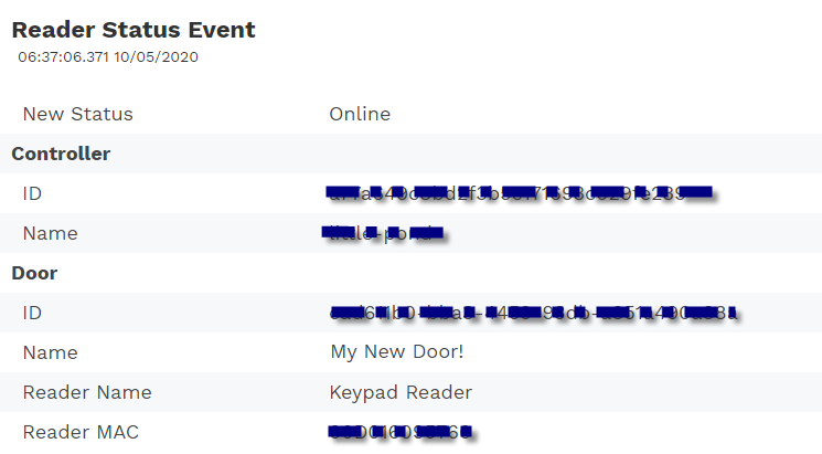 Sample reader status event