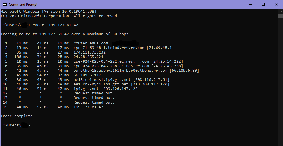 Example Tracert Results