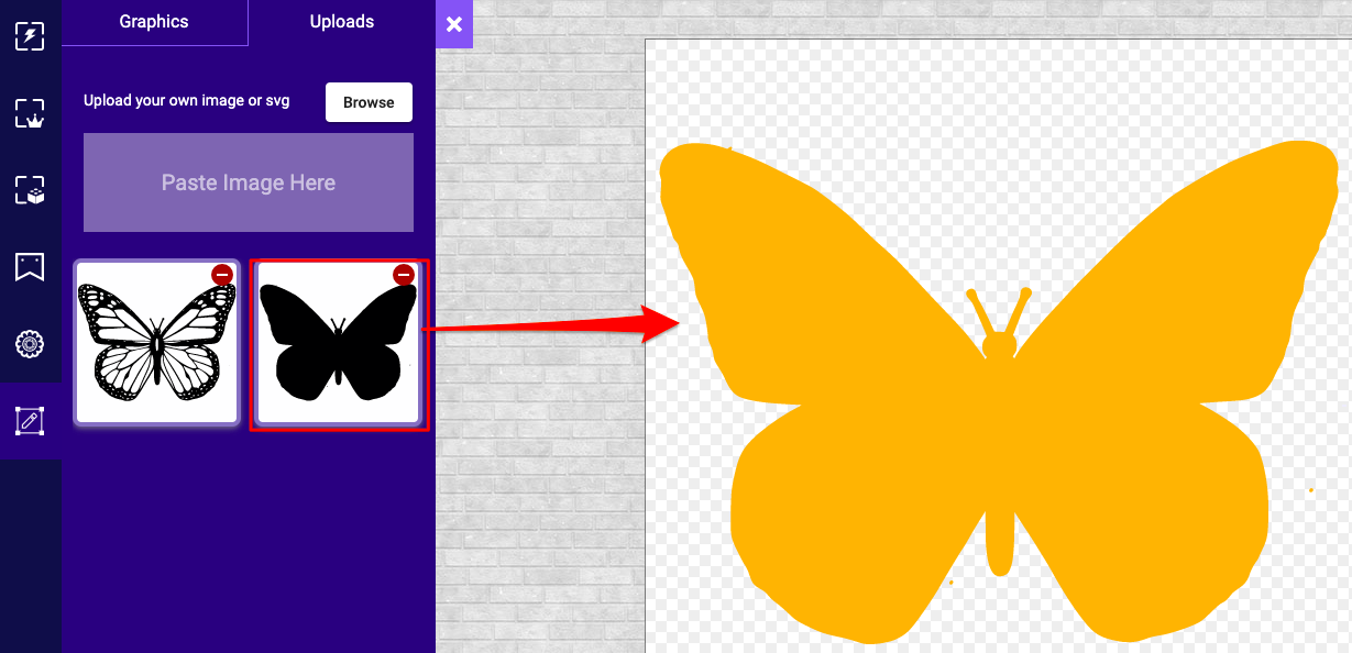 Add the outline butterfly graphics on to the stage