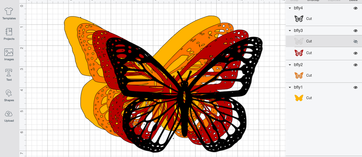 Final 3D Butterfly Layered on Cricut Design Space