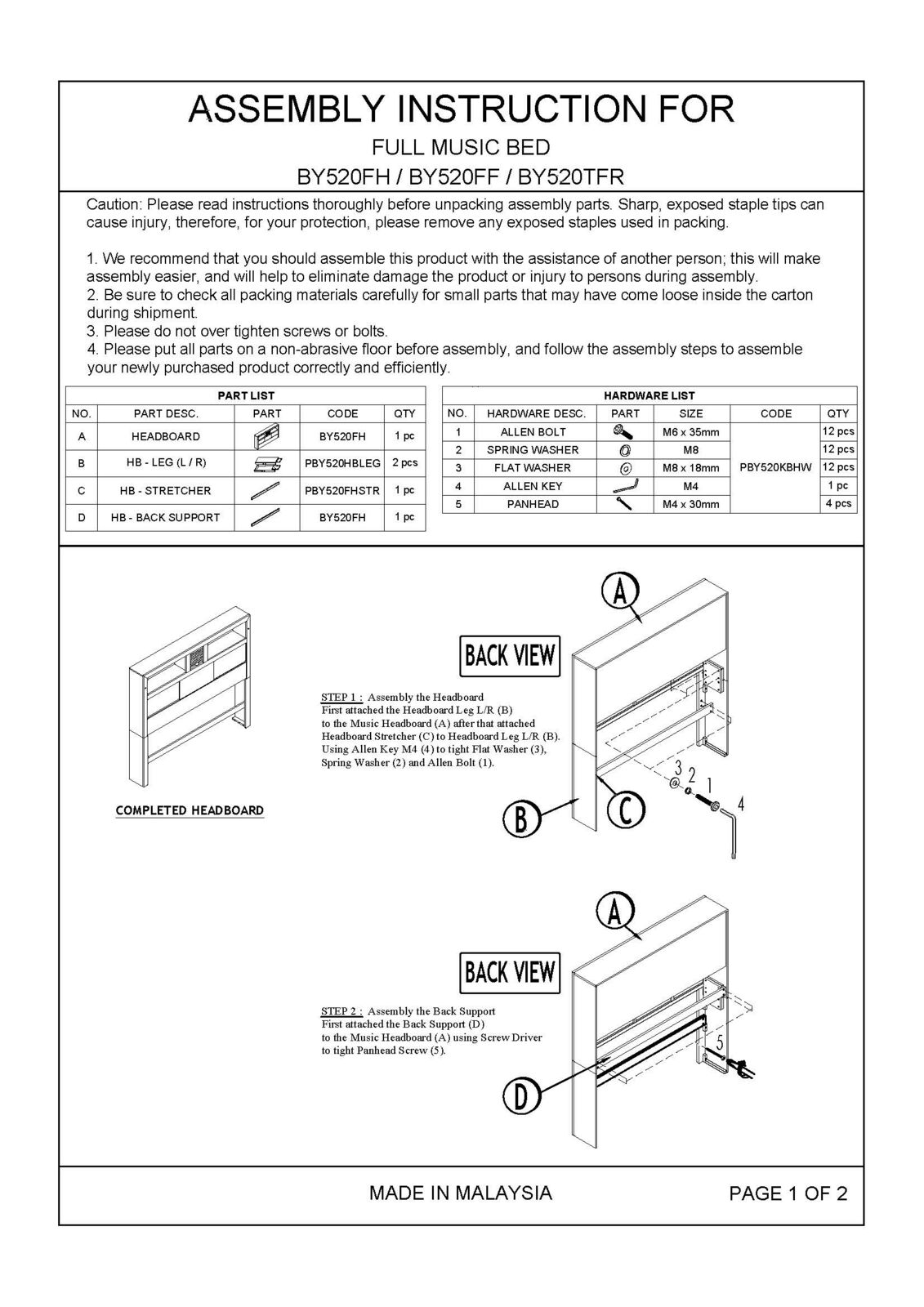 Assembly Instructions Page 1