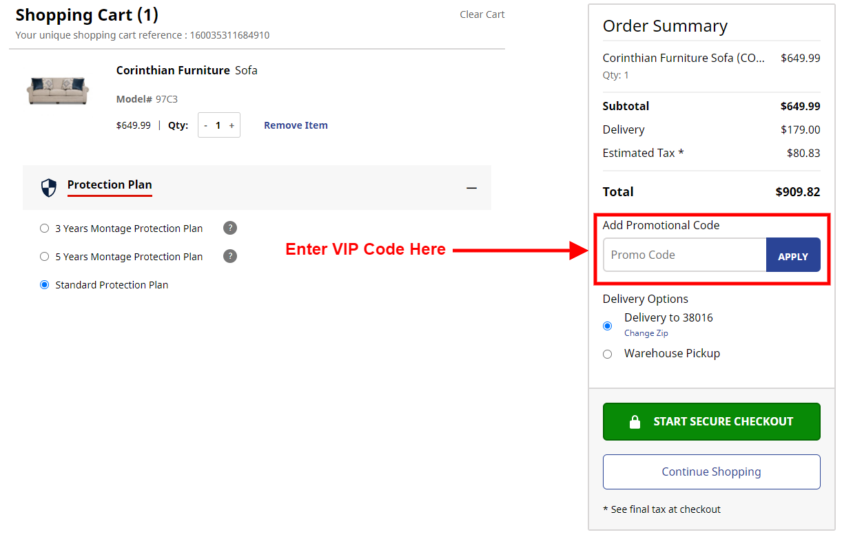 Where to enter your VIP code in cart