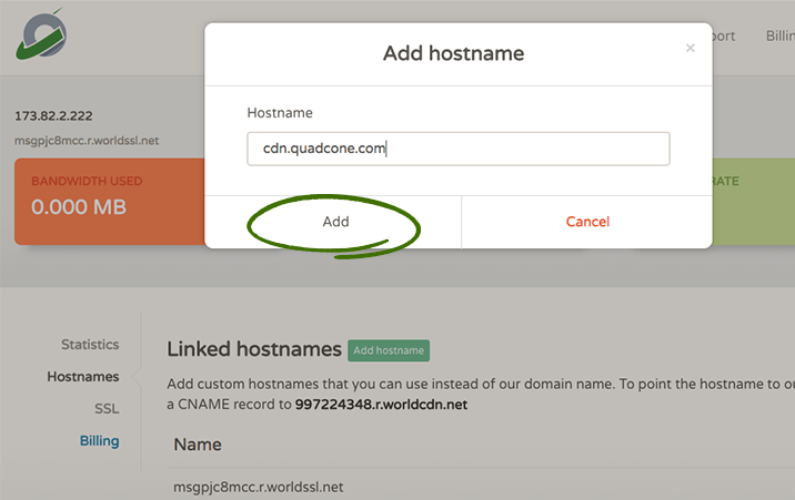 Add hostname to access CDN content