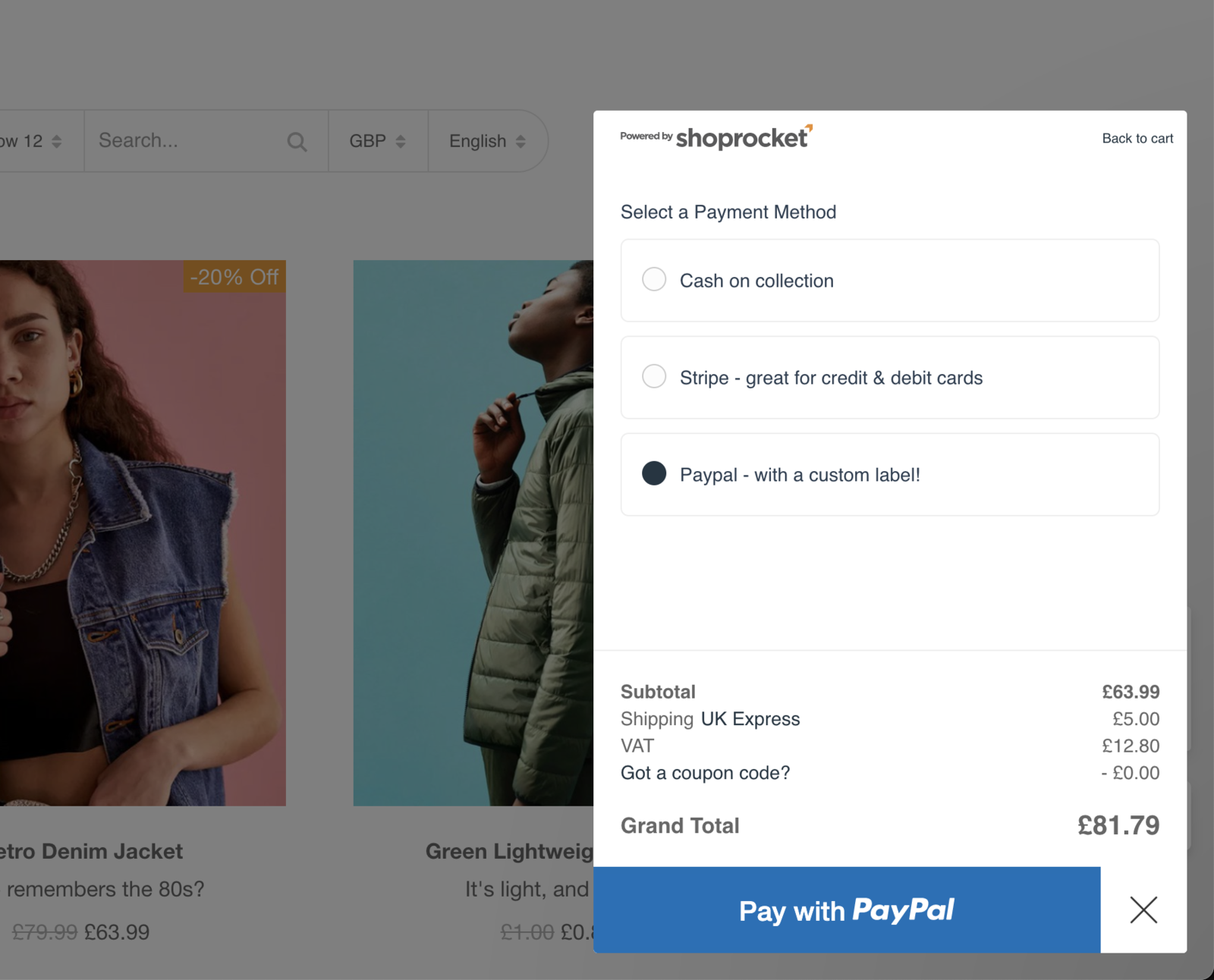 Example of payment methods at checkout