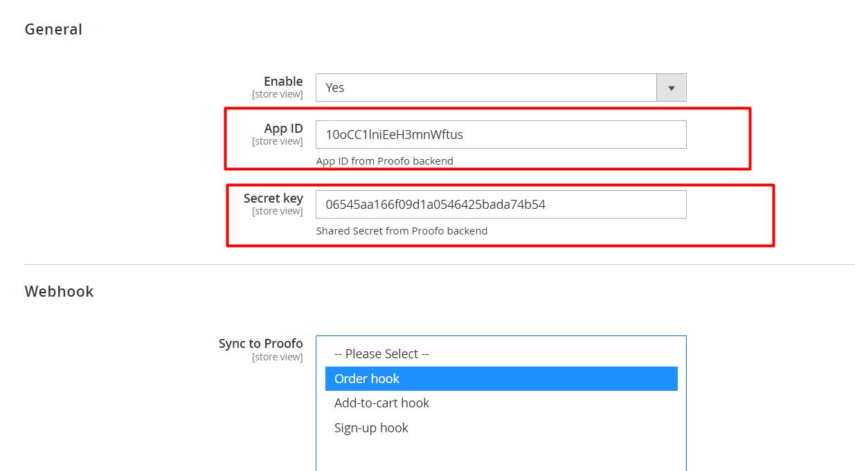 Copy and paste app credentials to Magento