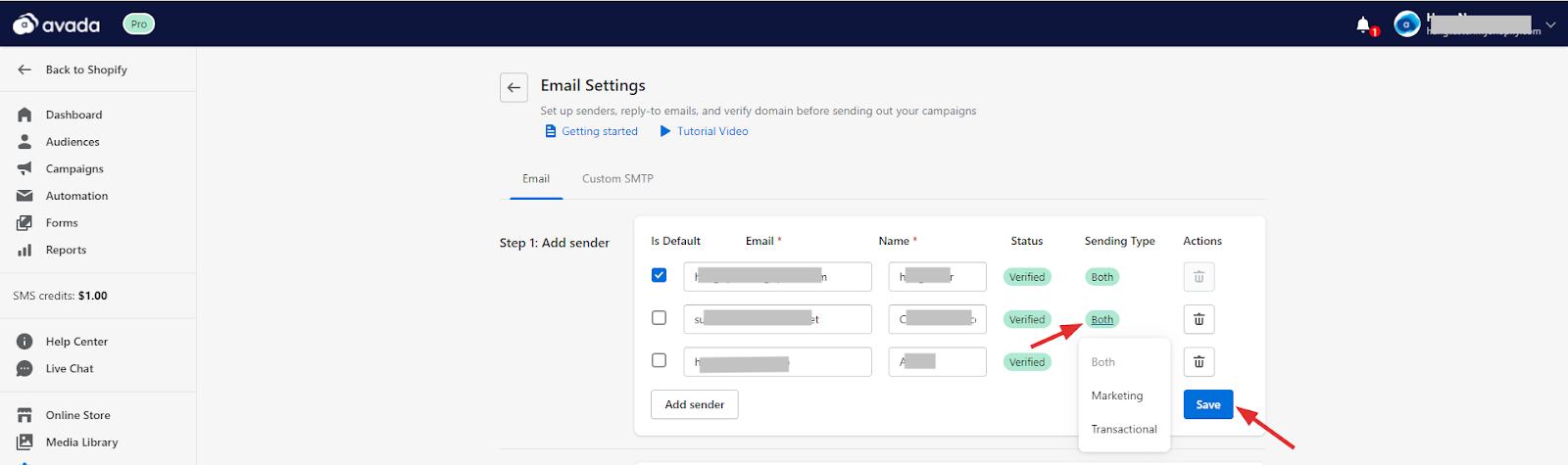 Change email sender type