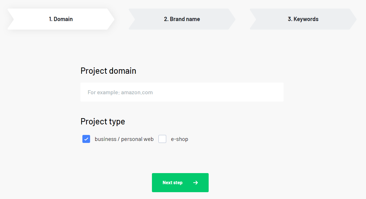 Create a project - first step