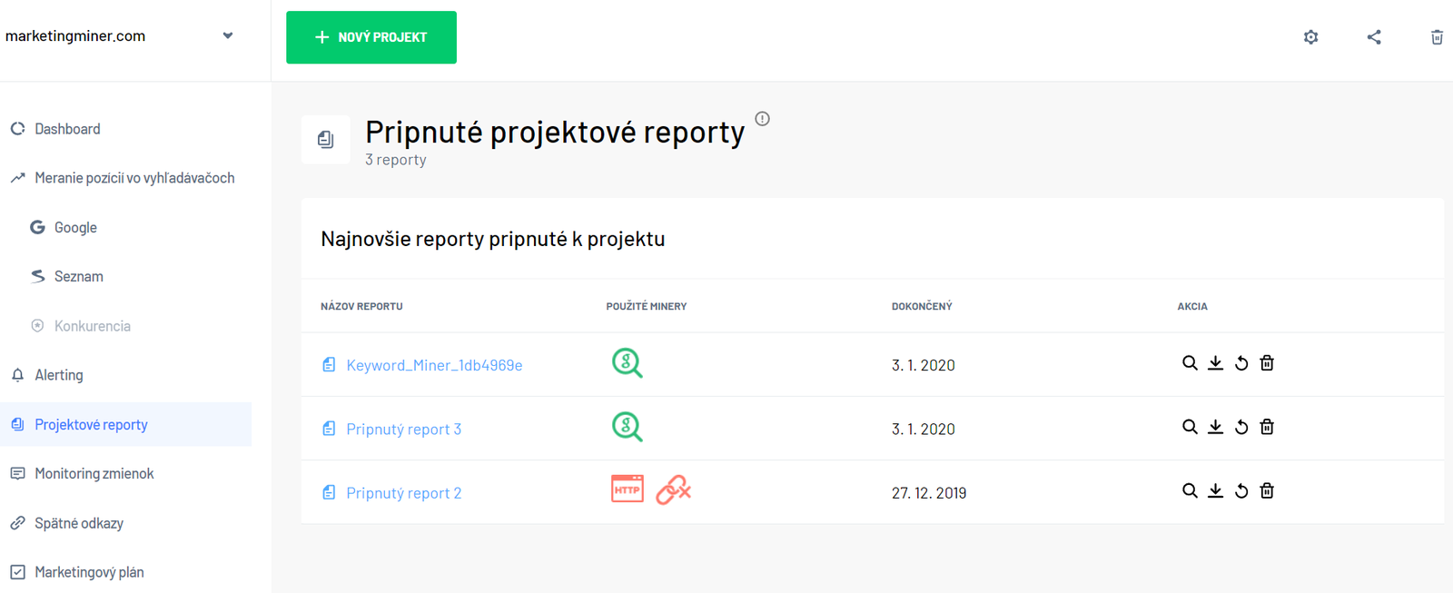 Sekcia pripnuté projektové reporty