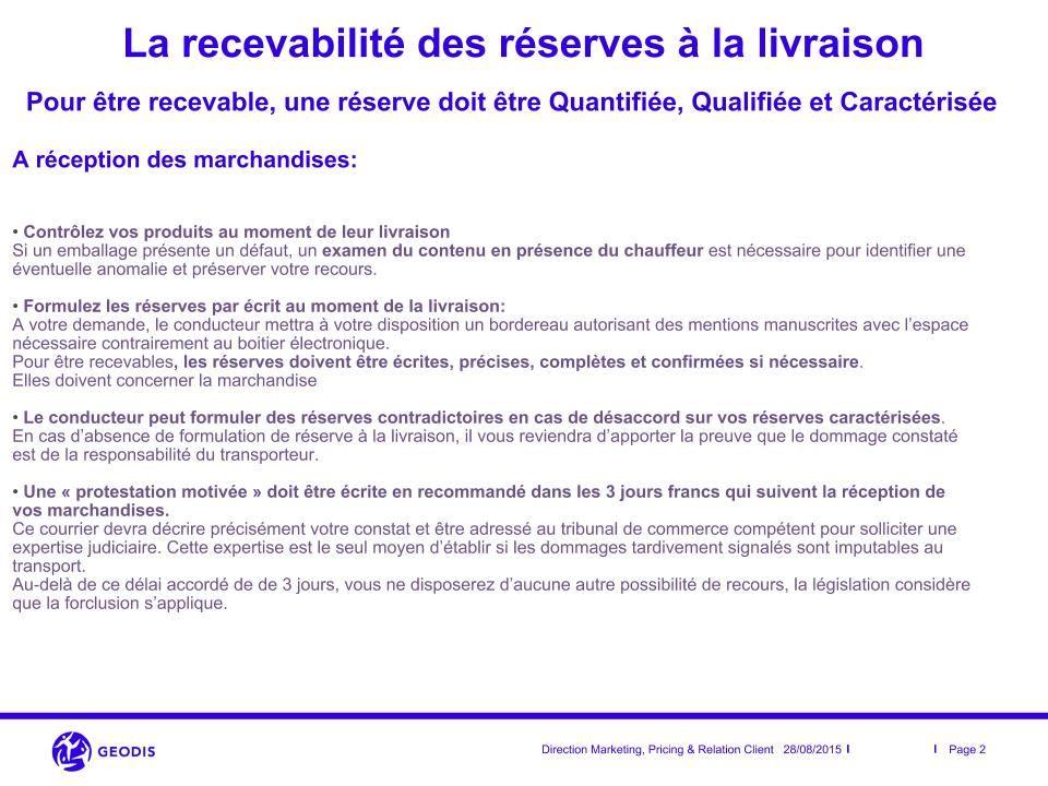 Recevabilité des réserves à la livraison - 2/3