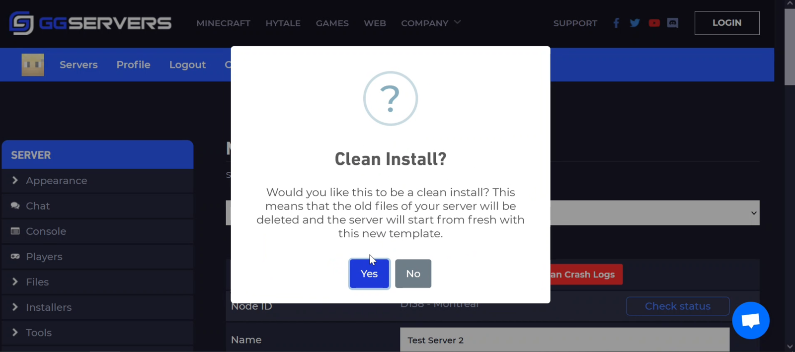 Do you want to do a clean install?
