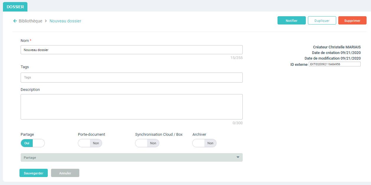 Création de dossier - Fenêtre 2 : informations et paramétrages complémentaires