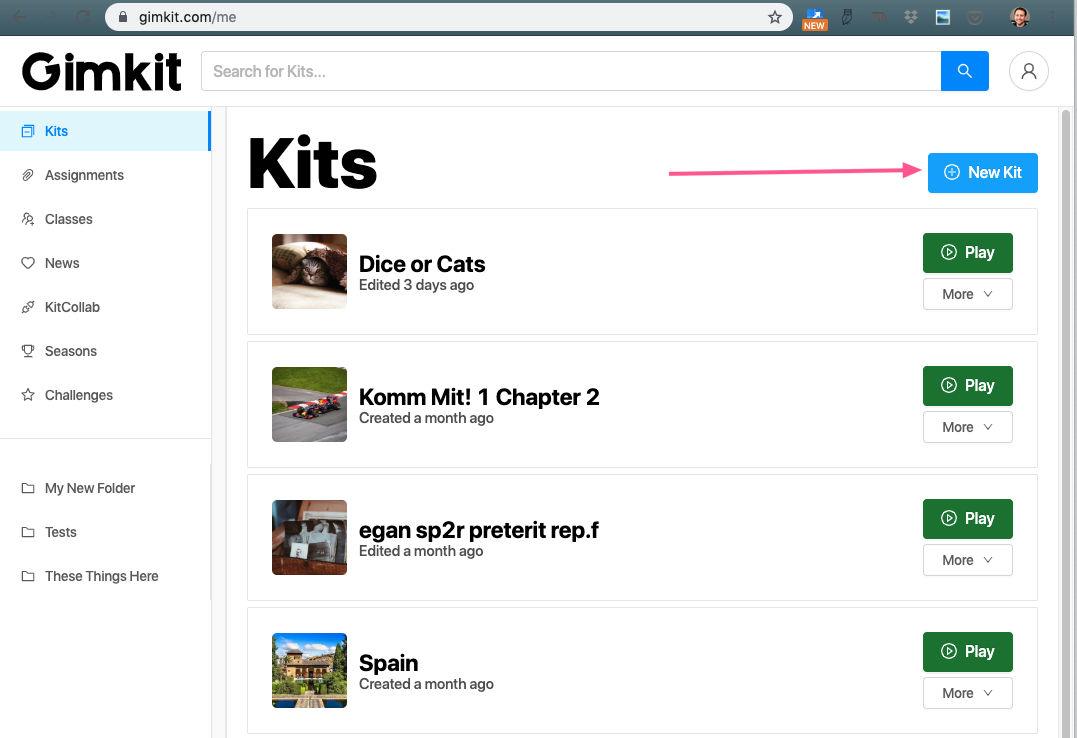 """Click """"New Kit"""""""