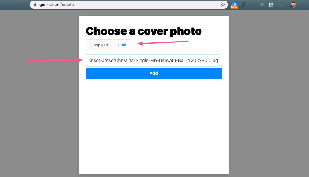 Choose a cover photo - image link