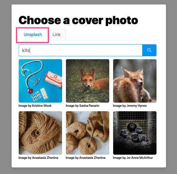 Choosing a cover photo using Unsplash
