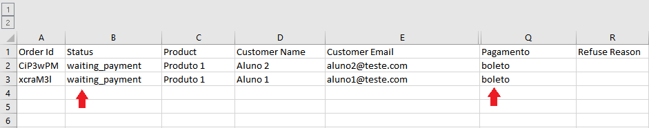 Aparece todos os dados dos clientes separados pelo filtro escolhido.