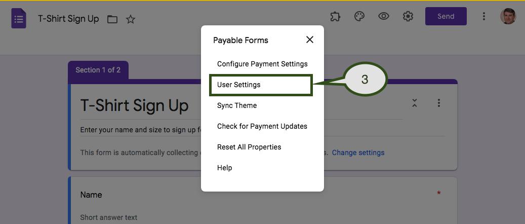 Select User Settings