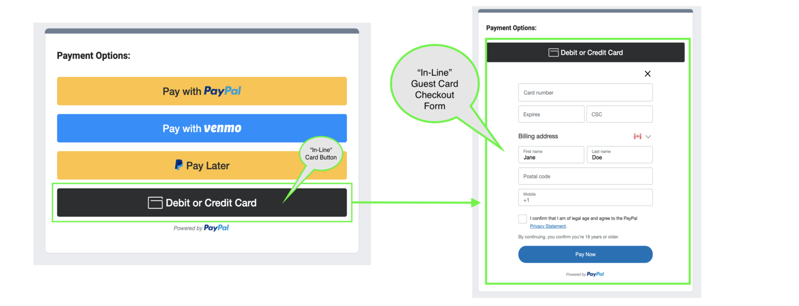 In-Line Guest Card Checkout powered by PayPal