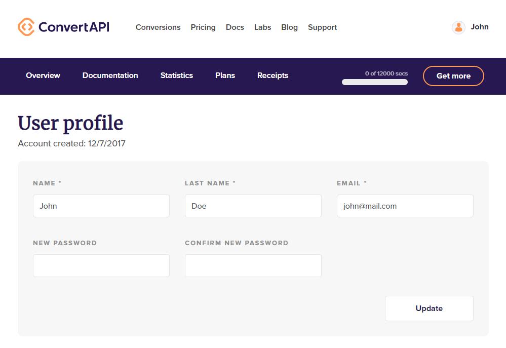 Edit profile details form