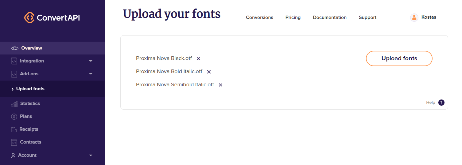 Upload your fonts page