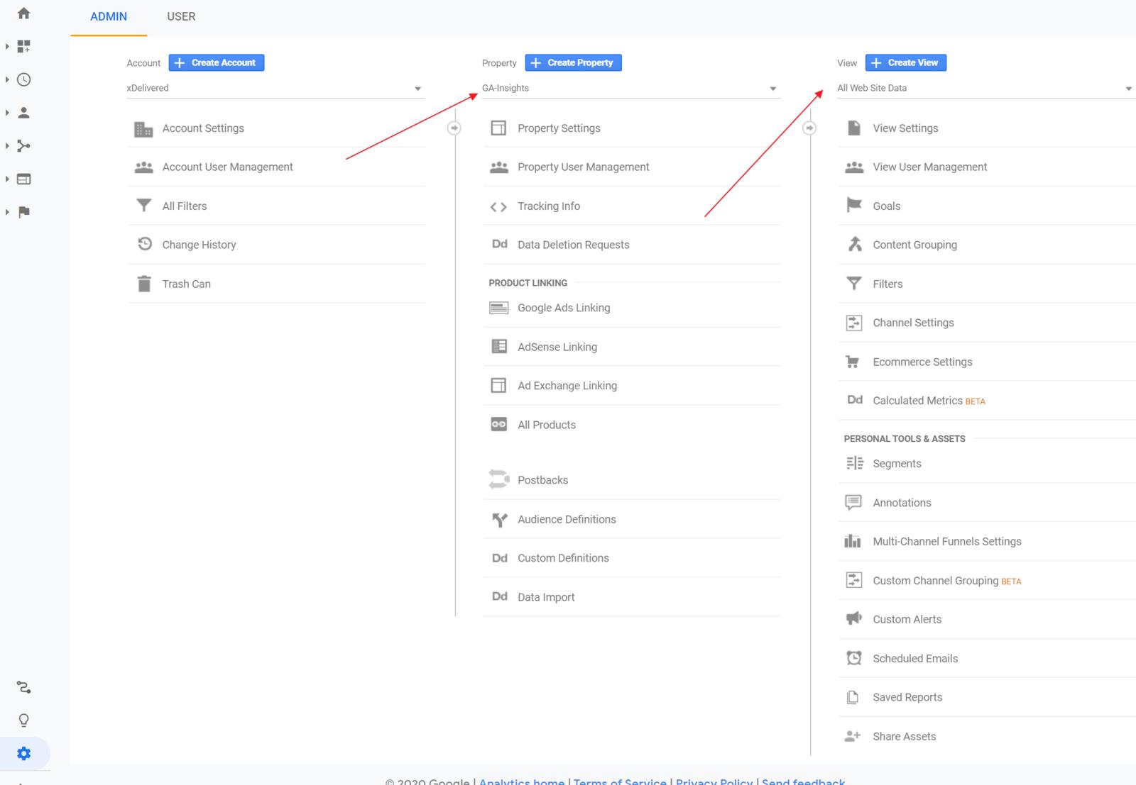 Google Analytics admin setup