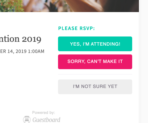 Email invitation RSVP options