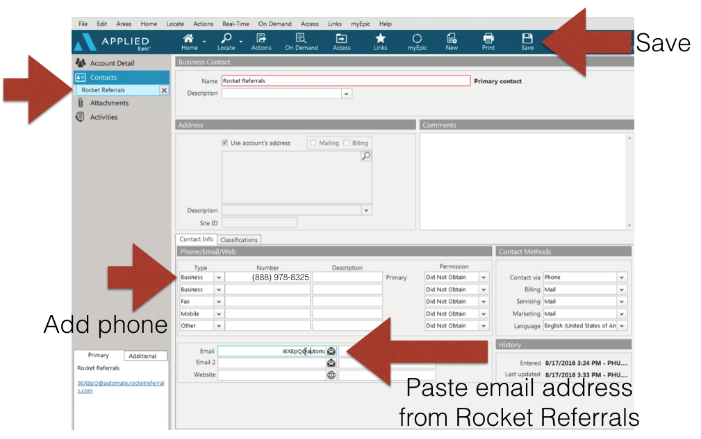 add email to vendor contact Applied EPIC