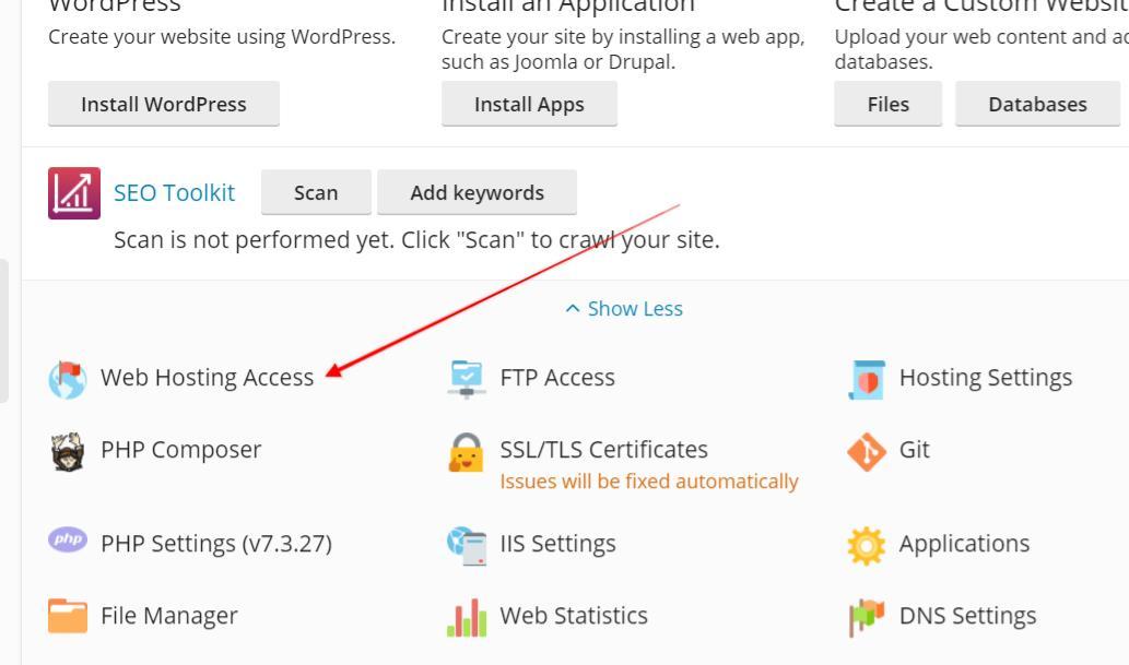 web hosting access