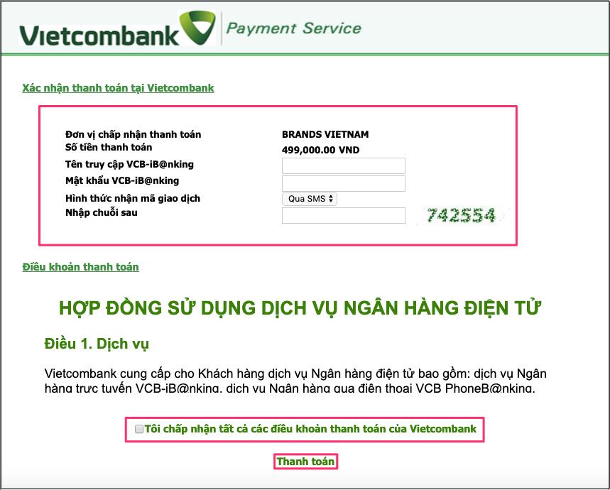 Điền thông tin E-banking của thẻ.