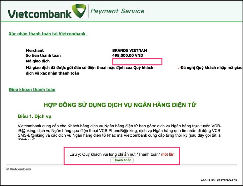 Điền mã OTP và bấm thanh toán.