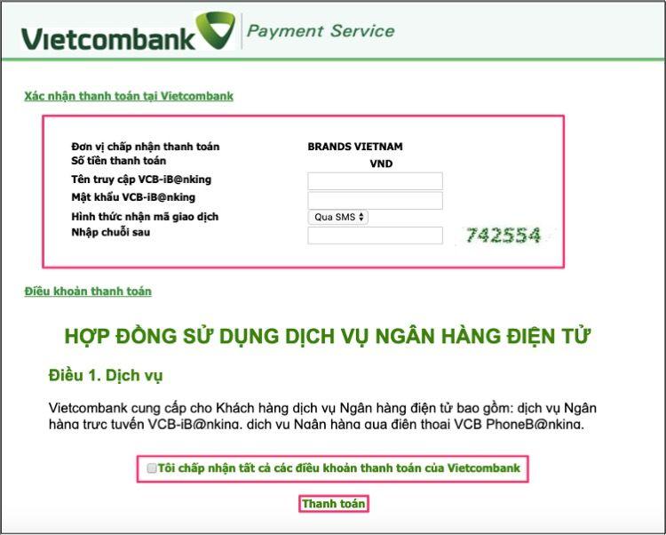Điền thông tin E-banking của thẻ