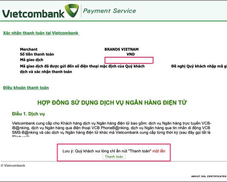 Điền mã OTP và bấm thanh toán