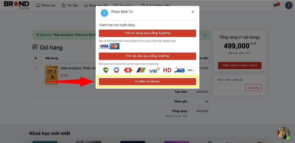 Chọn hình thức thanh toán bằng Ví điện tử Momo