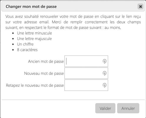 Mon compte > Modifier mot de passe