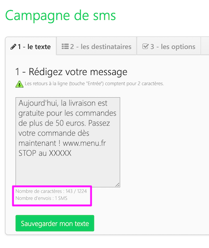 Campagnes de SMS > Nouvelle campagne