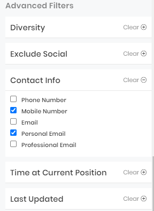 Advanced Contact Info Filter