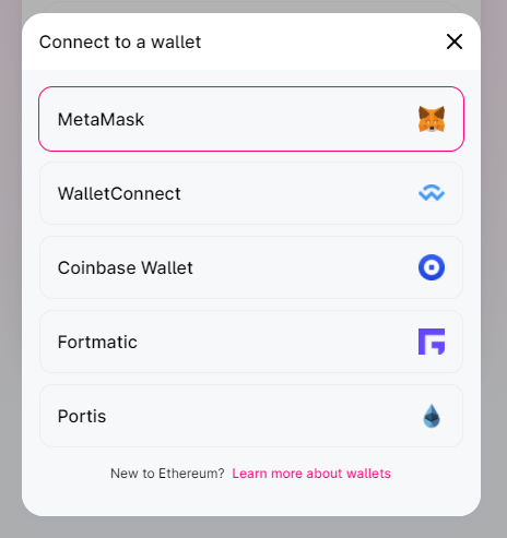 Select the same wallet type that you use with Morpher.