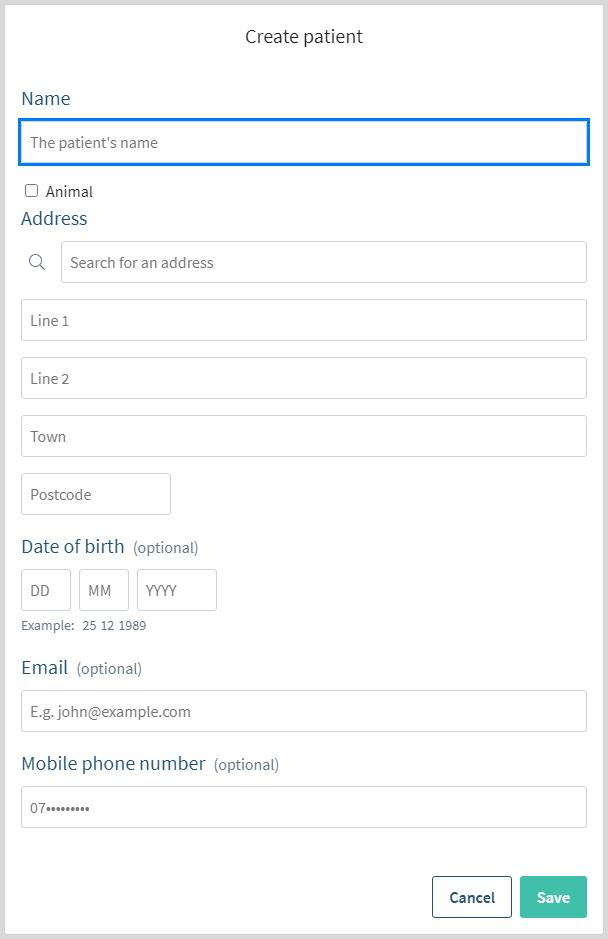 Adding patient details popover