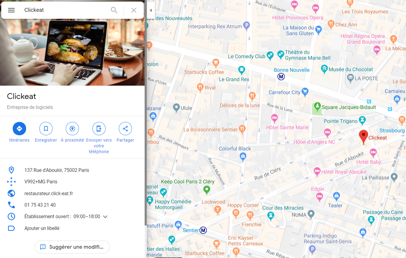 Exemple de fiche Google My Business dans Google Maps
