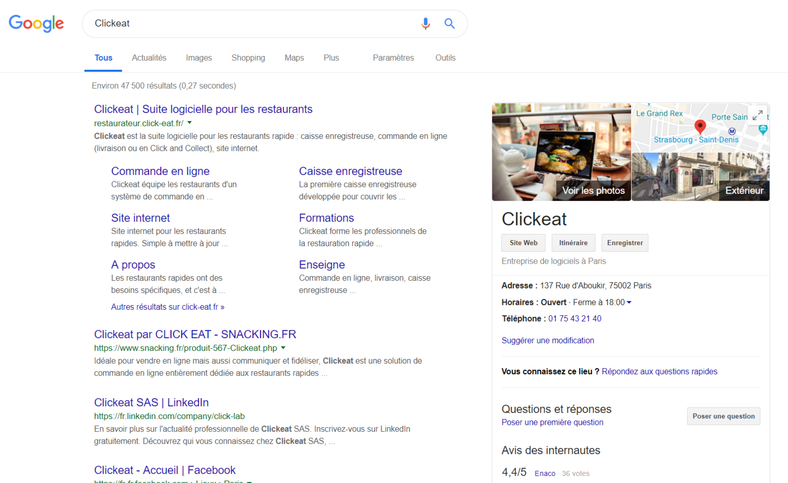 Exemple de fiche Google My Business dans la recherche Google
