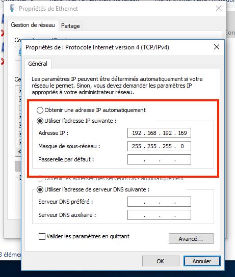 Paramétrages IP Protocole IPv4