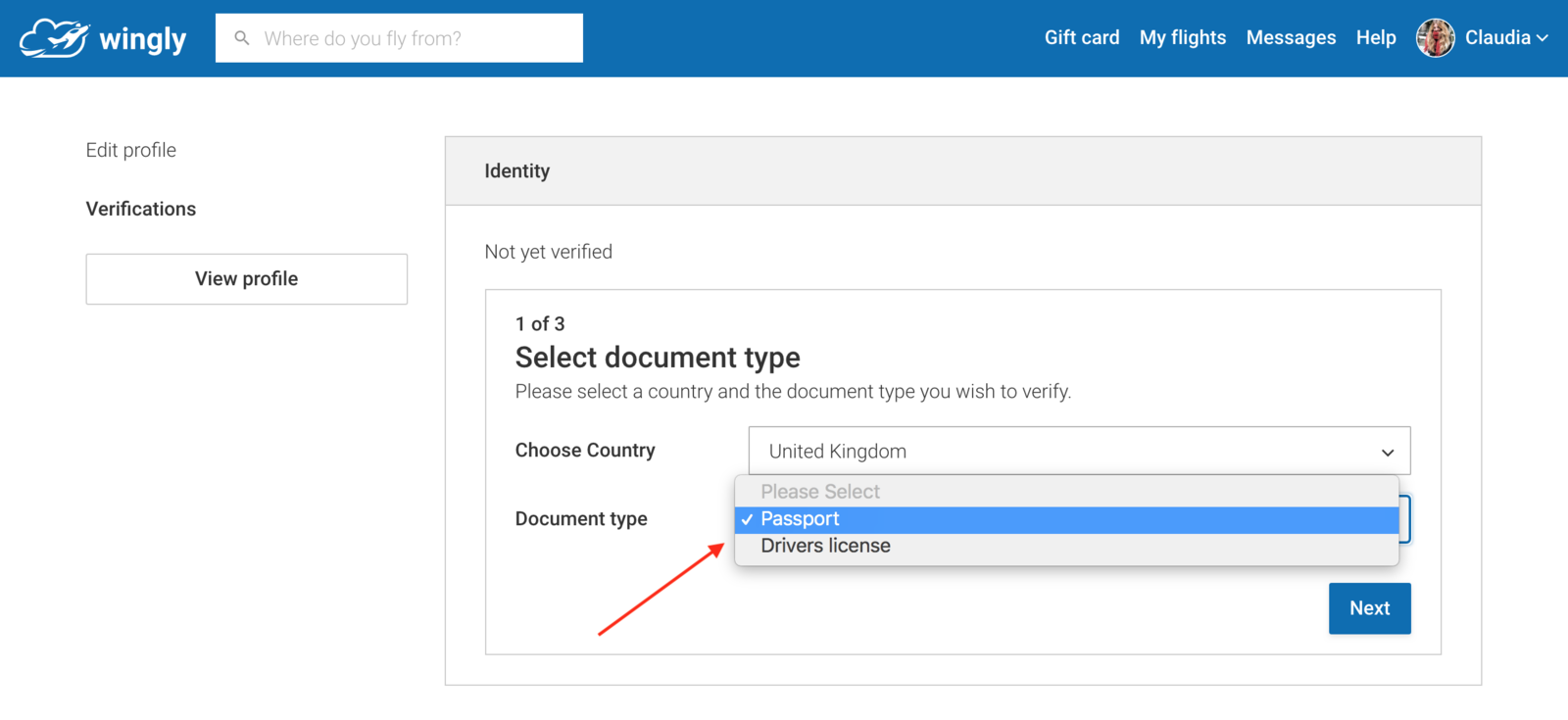 You can choose which document you would like to upload