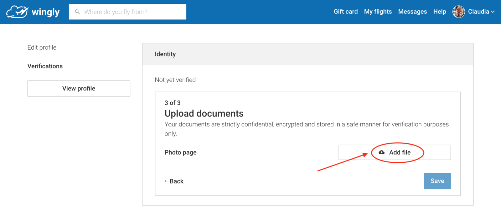 You can upload your files here by clicking on add file