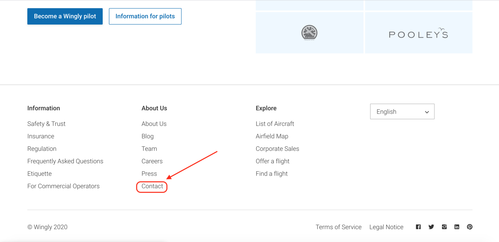 Click on 'contact' to be directed to the contact form