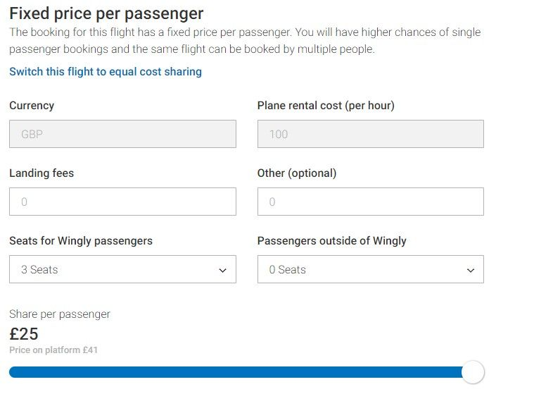 Fixed seat cost sharing